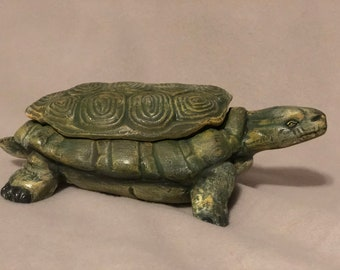 Turtle Jewelry Box or Candy Dish Ceramic Art