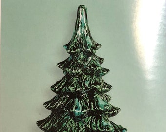 Scioto Ceramic Christmas Tree and Base in bisque ready to paint or glaze