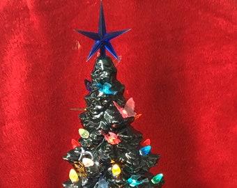 Glazed Bottle Green Mantle Christmas Tree