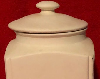 Vintage Ceramic Cookie Jar in bisque ready to paint