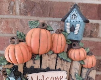 Ceramic Harvest Welcome Fence with Birdhouse brushed using Mayco Softee Stains