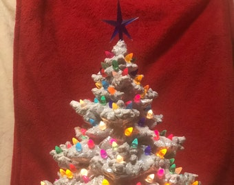 Silver and Mother of Pearl Glazed Ceramic Frazier Fir with multicolor bulbs, blue star and base