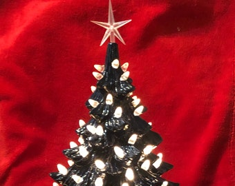 Ceramic Galaxy Blue Christmas Tree with clear bulbs, star and base with light kit