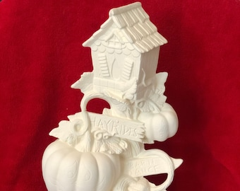 Ceramic Birdhouse Pumpkin Tree in bisque ready to paint