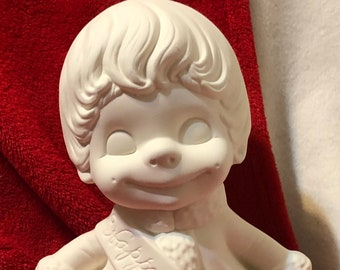 Rare Ceramic Atlantic Molds Baby New Year Smiley in bisque ready to paint