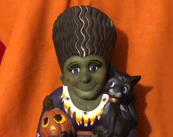 Dry Brushed Ceramic Ms. Frankenstein using Mayco Softee Stains