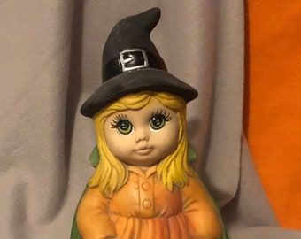 Vintage Dry Brushed Ceramic Little Female Witch