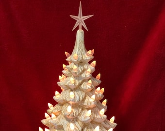 Dry Brushed Ceramic Gold and White Christmas Tree with clear bulbs, base, clear star and light kit