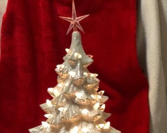 Ceramic Milk Glass Glazed Mother of Pearl Christmas Tree