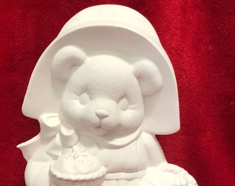 Clay Magic's Female Pilgrim Bear in ceramic bisque ready to paint