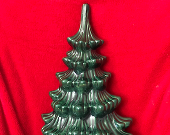 Rare Atlantic Molds Wall Hanging Ceramic Glazed Christmas Tree without holes for lights