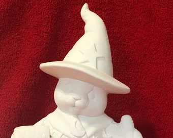 Clay Magic's Ceramic Female Witch Bear in bisque ready to paint