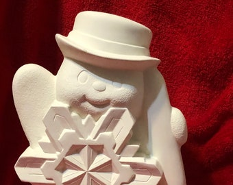 Clay Magics Snowflake Snowman in bisque ready to paint