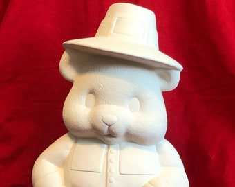 Clay Magics Large Male Pilgrim Bear in ceramic bisque ready to paint by jmdceramicsart