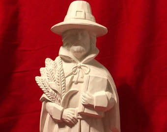 Clay Magic's Hammered Male Pilgrim in ceramic bisque ready to paint