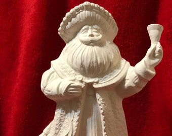 Vintage Ceramic Bell Ringing Santa in bisque ready to paint