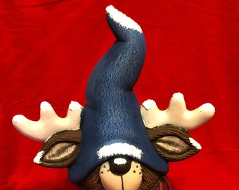 Ceramic Rolph the Reindeer by Mayco Molds Dry Brushed using MYco Softee Stains