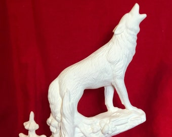 Howling Wolf in ceramic bisque ready to paint