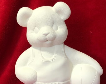 Clay Magic Basketball Bear in ceramic bisque ready to paint