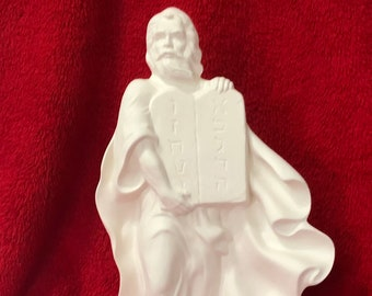 Moses and the Ten Commandments in ceramic bisque ready to paint