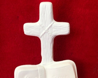 Cross and Bible in ceramic bisque ready to paint