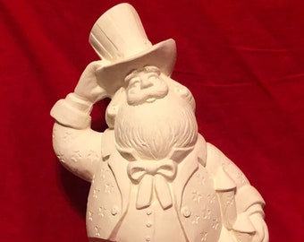 Rare Gare Ceramic USA Santa in bisque  ready to paint