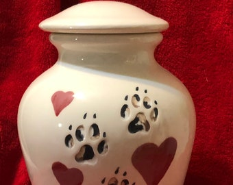 Glazed Custom Pet Urn with Brindle Paws