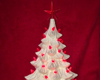 Milk Glass Glazed Ceramic Christmas Tree and Black Antique Base with red bulbs and star