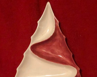 Glazed Ceramic Christmas Tree Dip Dish