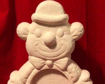 Ceramic Clown with hole for clock in bisque ready to paint