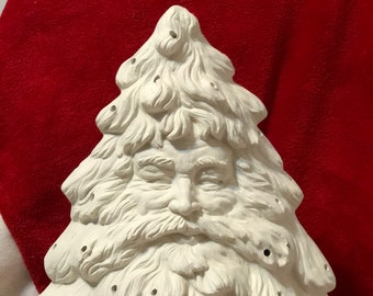 Ceramichromes Santa Face Christmas Tree and base without holes for lights