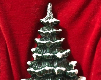 Ceramic Glazed Rare Atlantic Wall Hanging Tree with Snow and Base
