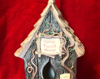 Dry Brushed Ceramic Birdhouse
