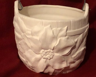 Ceramic Poinsettia Barrel with Handle in bisque ready to paint