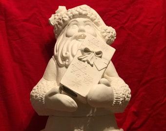 Rare 3 piece Ceramic Creative Paradise Santa in bisque ready to paint by jmdceramicsart