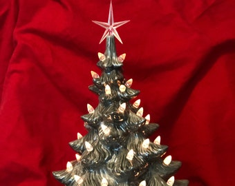 Atlantic Molds Silver and Mother of Pearl Glazed Ceramic Ornament Christmas Tree with bulbs, star and silver and Empress White base