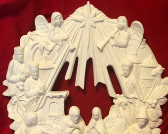 Scioto Molds Vintage Ceramic Nativity Wreath in bisque ready to paint by jmdceramicsart