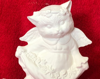 Kitty Cat Angel in ceramic bisque ready to paint