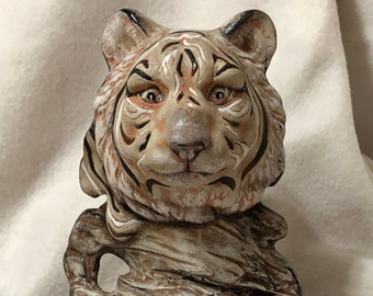 Dry Brushed Ceramic Emerging Tiger using Mayco Softee Stains