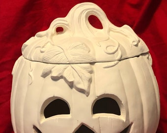 Large Ceramic Pumpkin with face and lid in bisque ready to paint