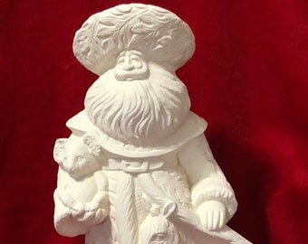 Rare 14 inch Gare Rain Forest Santa Clause in ceramic bisque ready to paint