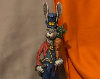 Dry Brushed Ceramic Rabbit with Carrot