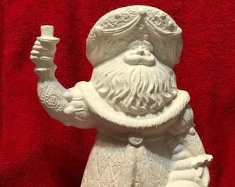 Rare Gare Ceramic Cornucopia Santa in bisque  ready to paint