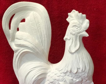 Rooster in ceramic bisque ready to paint