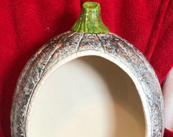 One of a kind glazed Ceramic Beaded Pumpkin Sconce Wall Hanging