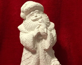 Kitty Cat Santa in ceramic bisque ready to paint