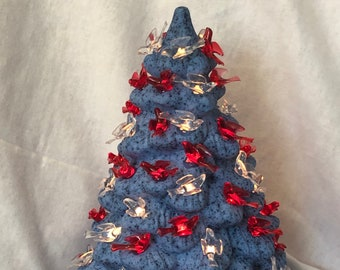 Glazed lapis blue Gator Molds Ceramic Ornament Tree with red and clear birds and sapphire green base by jmdceramicsart