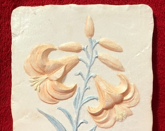 "Ceramic Glitter Glazed ""Lilium"" Wall Hanging one of a kind"
