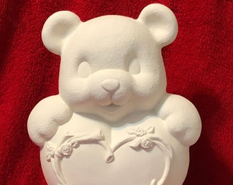 Clay Magic's New Ceramic Heart Bear with cut outs for light in bisque ready to paint