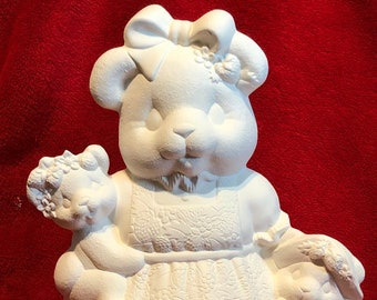 Clay Magic's Ceramic Strawberry Bear in bisque ready to paint